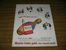1965 Print Ad Winston Cigarettes Couple Bowling & Large Pin