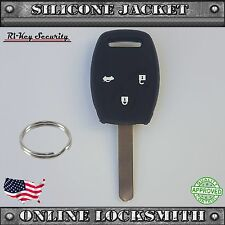 Black Protective Rubber Case Silicone Cover For Honda Remote Key Shell Buttons