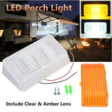 RV 24 LED Porch Light Rectangle Clear Amber Len Camper RV Trailer White Exterior