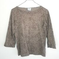 Columbia Knit Top Shirt Small Brown Boat Neck 3/4 Sleeve w/ Split Sleeves Womens