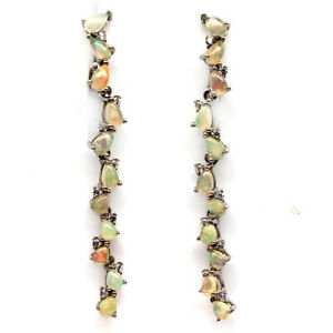 NATURAL MULTICOLOR OPAL & WHITE CZ 925 STERLING SILVER EARRINGS