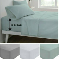 100% Egyptian Cotton Fitted Sheet 200 Thread Count Extra Deep Double King Single