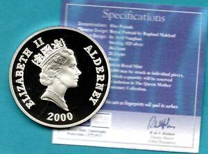 2000 ALDERNEY £5 CROWN COIN, STERLING SILVER. + CERTIFICATE.
