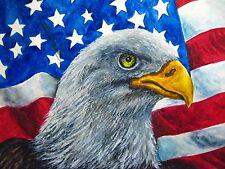 Watercolor Painting Bald Eagle Head Bird Feathers American Flag USA 5x7 Art