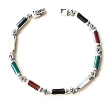 MOTHER OF PEARL CARNELIAN ONYX BRACELET Marcasite .925 STERLING SILVER (7.25 in)