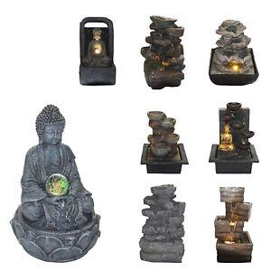 Zimmerbrunnen Buddha Wasserfall Springbrunnen Gartenbrunnen Buddhabrunnen Grau