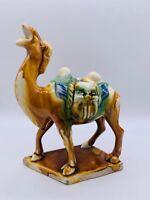 Vtg Roaring Camel Statue Chinese SANCAI Glaze Ceramic Tang Style Figurine