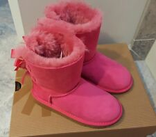 New Girls UGG Boots Toddler Bailey Bow pink Sz 12