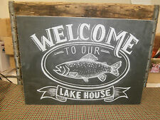 """"""" WELCOME TO OUR LAKE HOUSE """" Primitives by Kathy Box Sign 12.5"""" x 9"""""""