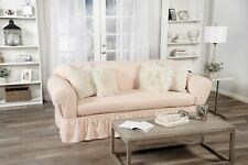Ruffled Cotton Sofa Slipcover 2 pc Pink