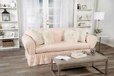 Ruffled Cotton Sofa Slipcover 2 pc Pink