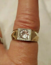 Vintage 10K Yellow Gold Sapphire Men's Ring