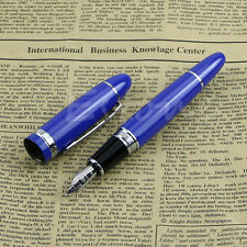 Deluxe Steel Jinhao 159 Blue And Silver Trim Medium Nib Smooth Fountain Pen