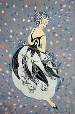 Erte 1987 LADIES TUXEDO FASHION EVENING HEART TASSELS Art Deco Matted Print