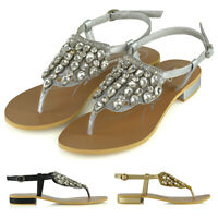 Womens Flat Sandals Slingback Diamante Ladies Sparkly Diamante Summer Shoes 3-8