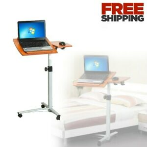 Mobile Sit Stand Workstation Laptop Computer Bedroom Rolling Small Space Office