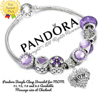 Authentic Pandora Charm Bracelet Silver Bangle Clasp Mom with European Charms