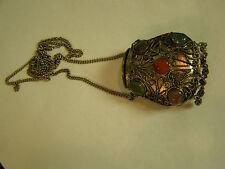 Vintage Tibetan Silver Prayer Box Purse Pendant Necklace Semiprecious stones