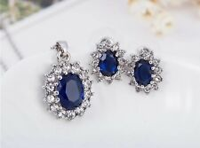 Sapphire necklace and earrings set Princess Diana September Birth Stone