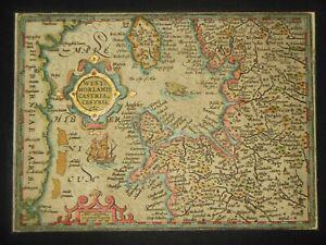 Original Rare 1632 Mercator Map, Westmorland, North Wales, Isle of Man, Cheshire