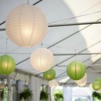 12x mix white green paper lanterns bulbs birthday wedding party venue decoration