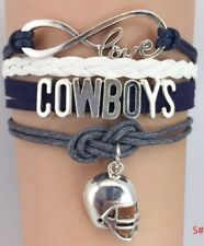 Beautiful Dallas Cowboy Infinity Unisex Wristlet Genuine Leather & Silver plated