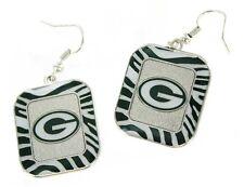 Green Bay Packers NFL Team Color Zebra Stripes Silver Dangle Earrings