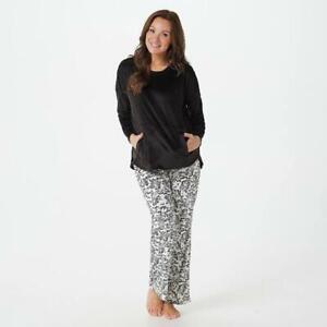 Cuddl Duds Ultra Plush Velvet Fleece Pullover Pajama Set Black/Dog