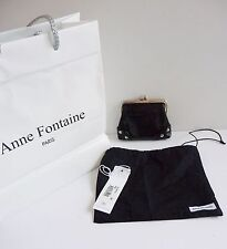 "Anne Fontaine NWT ""Glory-N"" Black Patent & Silver Tone Coin Purse Retail $185.."