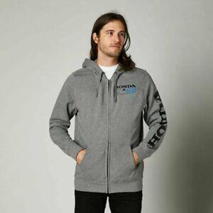 FOX Racing HONDA Zip Fleece Sweatshirt Hoodie -HEATHER GREY- SMALL- 2021 Hoody