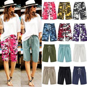 Ladies Casual Loose Shorts Bermuda Capri Trousers Summer Beach 3/4 Crop Pants US