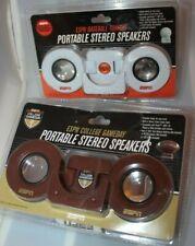 Lot of 2 ESPN Portable Stereo Speaker Sets - Football & Baseball Themes
