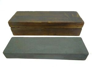 Old Sharpening Stone Knife Sharpener Kitchen Tool in Wood Box Case Used Old