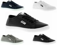 MENS HENLEYS CANVAS KENYON PUMPS LACE UP SHOES PLIMSOLLS BLACK WHITE NAVY GREY