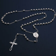 Sterling Silver 5mm Bead Rosary Necklace w/ Religious Charm & Drop Cross