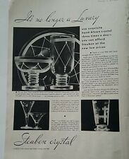 1932 Steuben crystal luxury glass stemware plates vintage glassware ad