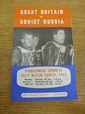 11/07/1964 Speedway Programme: Great Britain v Soviet Russia [Third Official Tes