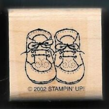 BABY SHOES LACE UP Foot Wear Fashion Shower Gift Tag STAMPIN' UP! Rubber Stamp