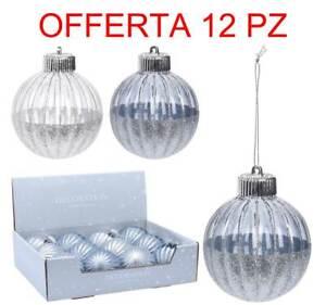 Offre 12 Boules 8CM Trasparents Avec Scintillement Variées Noël Décorations