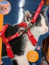 Set harnais et laisse pour chaton/petit chat, nylon, 21–34 cm/8 mm, 1,20 m rouge