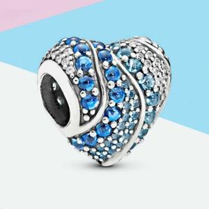 Genuine Pandora Sterling Silver Blue Water Heart Charm ALE 925 797015NABMX UK