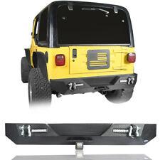 Black Steel Off Road Rear Bumper w/ LED Light for 1987-2006 Jeep Wrangler YJ TJ