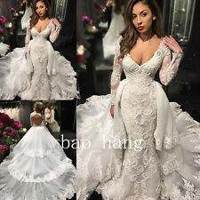 Mermaid Wedding Dress Removeable Train Bridal Gown Open Back Long Sleeve V Neck
