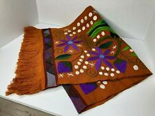 """Mexican Crewel Hand Embroidered Rust Fall Table Runner Parrots Floral 64""""X 16.5"""""""