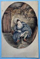 Peinture Aquarelle Originale Sur Carte Postale Signé A Gasna Personnage