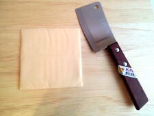 "QUALITY SMALL CLEAVER  KIWI BRAND WOOD HANDLE KITCHEN TOOL BLADE 3.0"" STAINLESS"