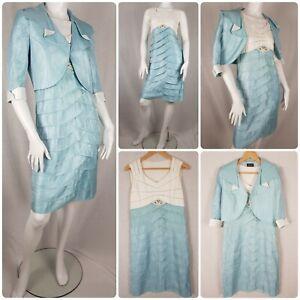 Mother of the Bride Outfit Pencil Dress & Bolero Jacket Aqua Blue Size 12