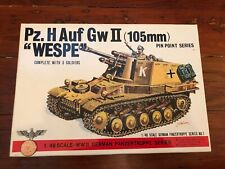 "Vintage Bandai WW2 German ""WESPE"" Pz.H Auf GwII (105mm) 1/48 Model Kit Soldiers"