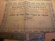 action - titre - banque Charpenay Isère 38 année 1922