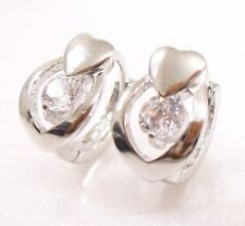 Clear Simulated Diamond White Gold Plated Small Cute Heart Charm Hoop Earrings